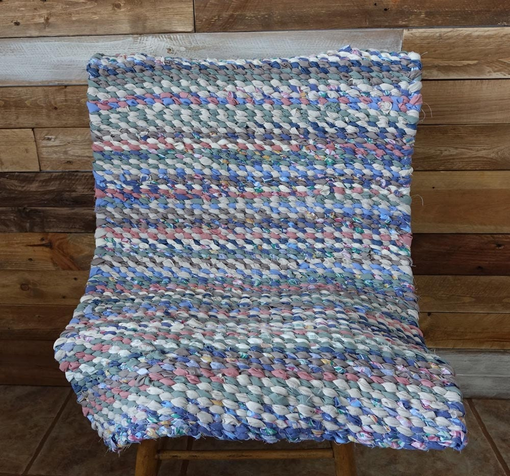 Blue Green Rag Rug Rag Rug Weaving Handmade Cottage Chic