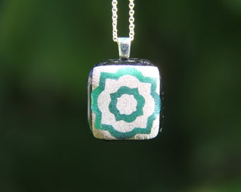 Emerald green and copper flower dichroic glass  pendant, green fused glass pendant, dichroic fused glass jewellery, green flower pendant