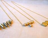 Modern Necklace, gold minimalist necklace bar necklace layering necklace geometric necklace prom  titanium crystal necklace simple druzy