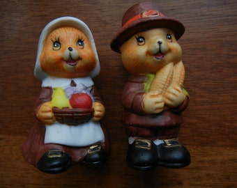 Russ Berrie Thanksgiving Mice Salt and Pepper Shakers