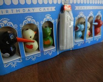 Sevi Wooden Bird Candle Holder Set ~ New in Box