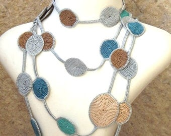Turkish OYA Lace - Lariat necklace - Drop-Blue & Gray