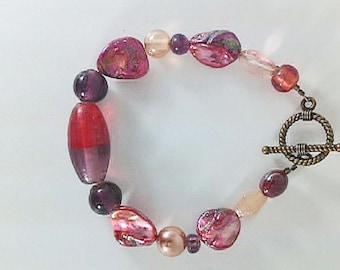 Red Orange Cream Purple Pearl Abalone Faceted Glass Beaded Gemstone Handmade One-of-a-Kind Bracelet