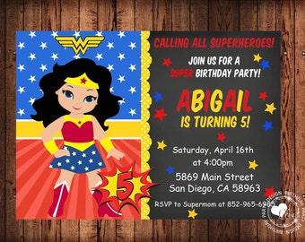 Wonder Woman Invitations, Super Hero Invitations, Super Girl Invitations, Superhero Invitation For Girls, Girl Hero Invitation