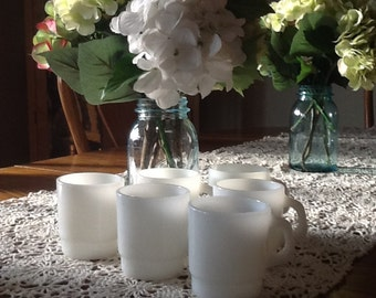 Milk glass coffee mugs