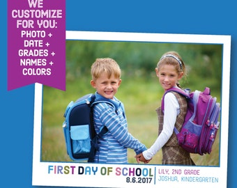 Custom Back to School 8x10 Photo Collage - Printable 1st First Day of School Sign - Customized School Bus Chalkboard Chalk Board - Siblings