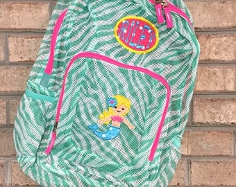 Monogrammed Backpack   Mermaid   Mermaid Backpack   Girls Backpack   Mesh Backpack   Monogrammed Mesh Backpack   Mermaid Bookbag