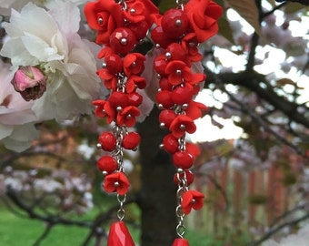 Red polymer clay earrings.