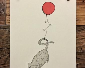 Floating Balloon Cat - Original Watercolor Illustration || Print