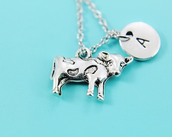 Cow Charm Necklace Silver Cow Charm Necklace Farmer Necklace Calf Charm Baby Cow Charm Farmers Gift Personalized Initial Necklace