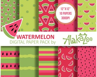 Watermelon Printable Pattern seamless , Digital Paper, Scrapbooking, 12x12inch, Background, Instant Download.