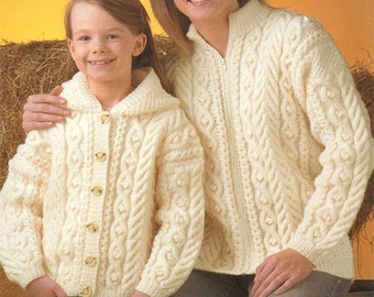 Ladies and childs Aran Jackets Knitting Pattern PDF -24-46 inch chest, with or without hood