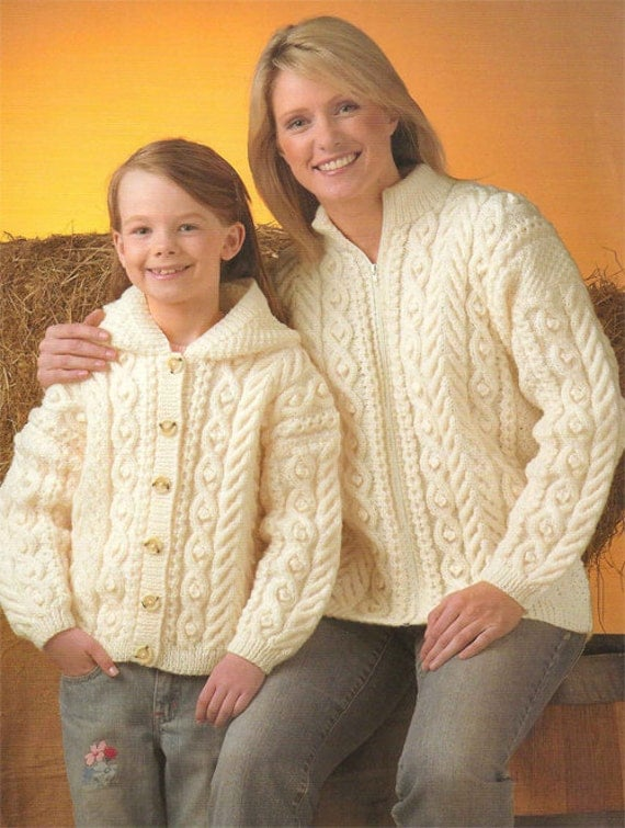 Knitting Pattern Child s Hooded Jacket : Ladies and childs Aran Jackets Knitting Pattern PDF 24-46