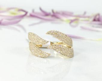 Sparkling Unique Open Wrap Diamond Ring, 0.50CT 14K Yellow Gold Pave Diamond Fashion Wave Design Statement Open Wrap Ring