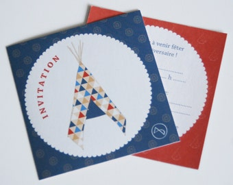 """Set of 5 anniversary stickers invitations indian """"Tipi"""" for little boys birthdays"""