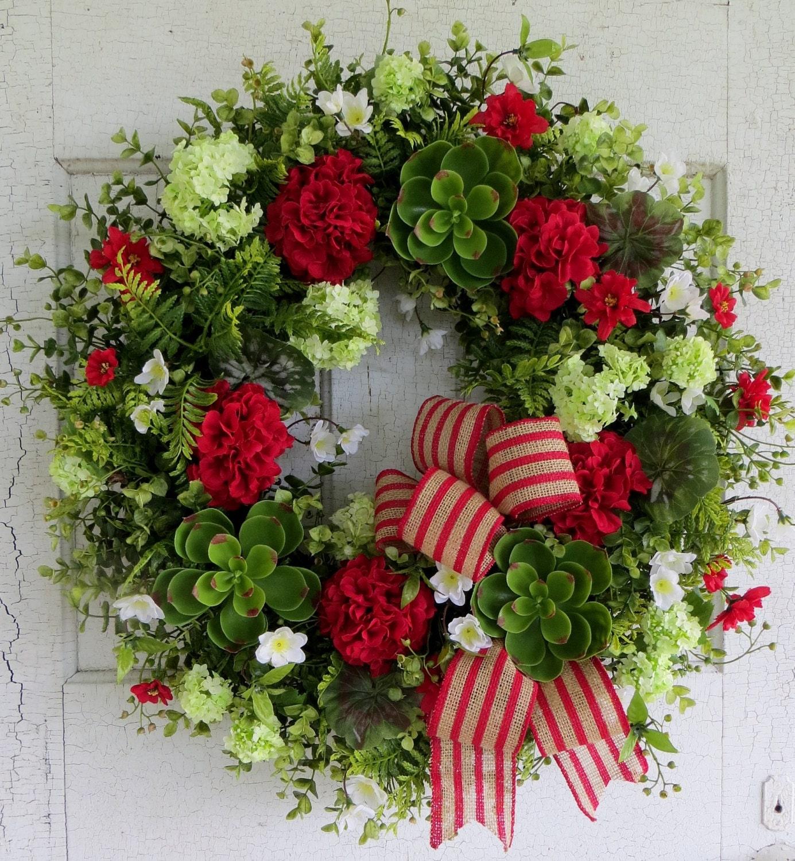Summer Geranium Wreath Front Door Succulent Wreath Large