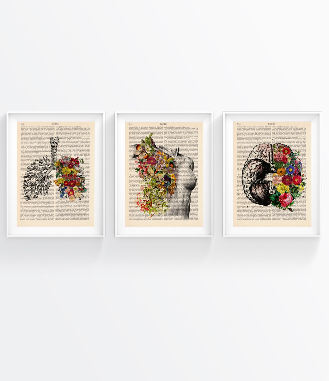 Sale get any three vintage book prints art wall decor art for Retro wall art