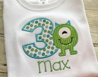 Monster birthday shirt - Birthday shirt for boys - Monster birthday outfit - Third birthday shirt - boy birthday shirt - boy birthday party