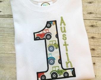 Tractor birthday shirt - boy birthday outfit - tractor birthday - personalized tractor shirt - tractor fabric shirt - farm birthday