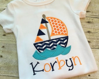 Sailboat shirt for boy- boys summer clothes -personalized boy shirts - vacation shirt for boys - nautical shirt boys - custom boy outfit