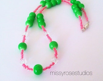 Neon Necklace - Green Necklace - Pink Necklace - Teen Jewelry - Teen Necklace - Beaded Necklace - Gumball Necklace - Seed Bead Necklaces