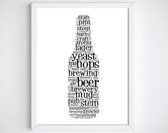 Beer Wall Print, Beer Lover Gifts, Beer Posters, Beer Wall Art, Beer Gift, Beer Print, Beer Art Print, Beer Art, Unique Man Cave Gift