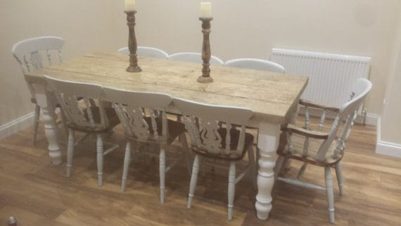 Rustic 8 seater Farmhouse dining table with reclaimed top and