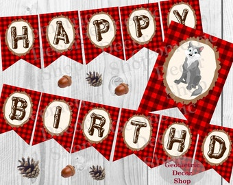 Happy Birthday Banner Wolf Instant Download Printable Lumberjack Red plaid Lumber Jack Digital Buffalo plaid party Woodland red #BNLJ4