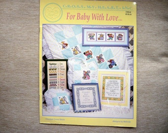 For Baby With Love counted cross stitch pattern - over a dozen designs