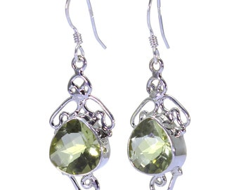 Green Quartz Earrings, 925 Sterling Silver, Unique only 1 piece available! color green, weight 6.4g, #32405