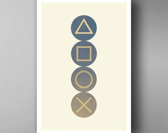PlayStation Inspired. Buttons. Video Game Poster. Wall Art.