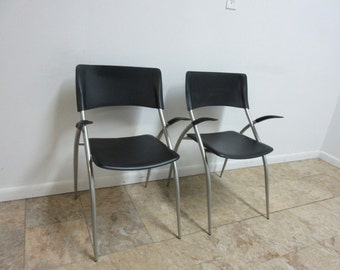 Pair Calligaris Leather Atomic Floating Arm Chairs D