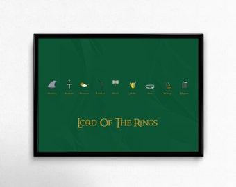 Lord Of The Rings Custom Minimal Movie Art, **Digital Download**  - Custom Minimal Modern Art Movie Poster Print Abstract