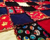 Custom Rag Quilt - Boys Bedding - Room Decor - Patchwork Quilt - Handmade Quilt - Birthday Gift - Nursery Decor - Crib Bedding - Pokemon