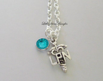 LPN Nurse  CHARM   W/  Swarovski Birthstone / LPN Necklace / Nurse Necklace / Chain Necklace Gift For Her / Under 20  Usa   NK1