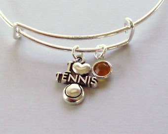 I LOVE TENNIS  Bangle / Bracelet  W/ A Birthstone /  Charm Bangle Under Twenty / Sports Team Gift For her  Usa T1