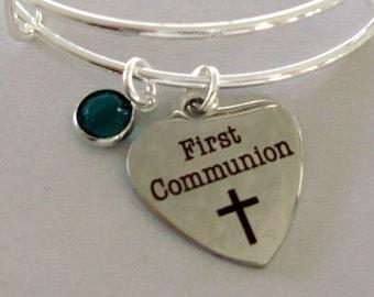 GIRLS First Communion Heart BANGLE -  Adjustable Bangle W/ Swarovski Birthstone Crystal Drop - Religious Charm - Girls Gift  FC1