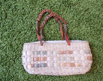 Wicker handbag, straw, natural colors, summer handbag