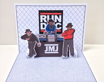 Run DMC Handmade Hip-Hop-Pop-Up Card