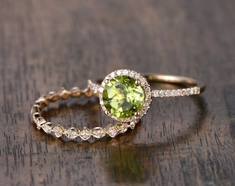 7mm Round Cut Peridot Engagement Ring Set Peridot Ring And Diamond Wedding Band in Solid 14K Yellow Gold Bridal Wedding Ring Set