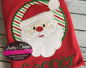 Santa applique shirt! Or Bodysuit! Personalized in your choice of fonts!