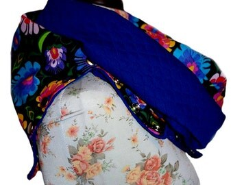 Folk pattern and cornflower blue scarf, full-year snap scarf, cowl neck scarf with press studs