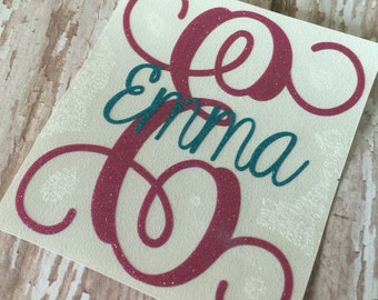 Fancy Script Initial with Name Overlay | Vine Monogram Initial Name Decal | Initial Name Decal |