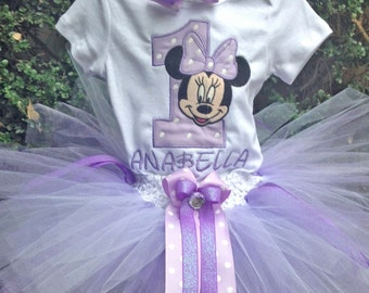 Minnie Mouse 1st Birthday Outfit Purple Lavender Onesie Tutu Baby Girl Personalized