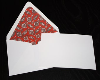Fun Red Flower Pattern Envelopes with Note Cards (set of 5)