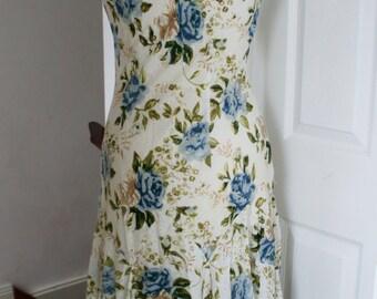 Vintage Floral Blue Rose Cotton Dress UK Size 8 Regular, US 4, European 36