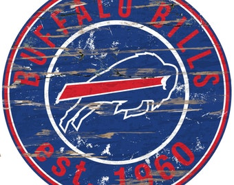 "NFL Buffalo Bills Round Distressed Established Wood Sign 24"" In Diameter"