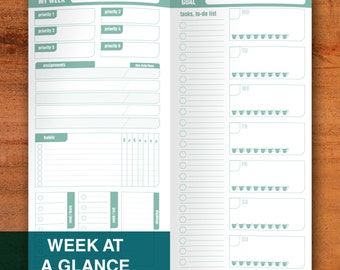 Week at a Glance Standard Midori Travellers Notebook Printable Template Habit Tracker Priority Planner Week on 2 Pages Fauxdori