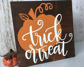 Trick or Treat Sign - Halloween Sign - Halloween Decorations - Trick or Treat - Seasonal Sign - Halloween Decor