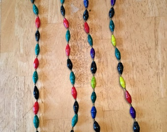 paper bead necklace - green, red, and black long beads
